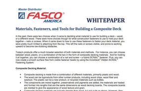 Materials, Fasteners, and Tools for Building a Composite Deck