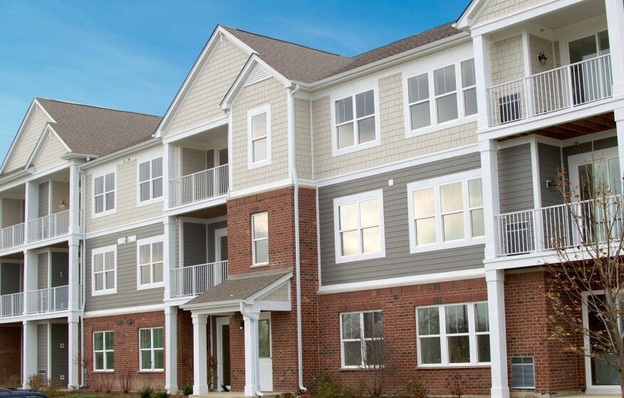 maintenance-free siding, brick siding, low-rise, elevation, garden apartments