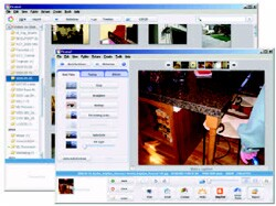 "Picasa features both a catalog browser (rear) and basic editing tools. ""E-mail Photo"" automatically creates a downsized copy and attaches it to your e-mail software of choice."