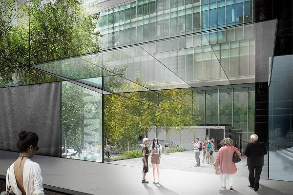 Concept sketch for MoMA. View of the Sculpture Garden entrance on 54th Street.