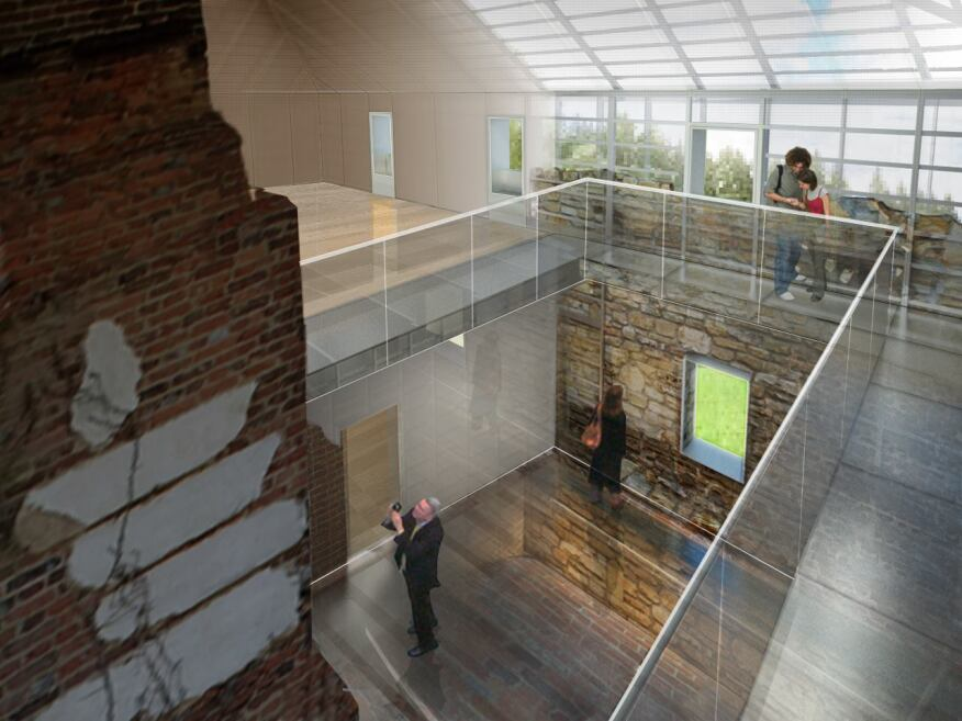 Interior rendering from second floor with exposed fireplace brick in foreground, and open views to the landscape and river harbor.