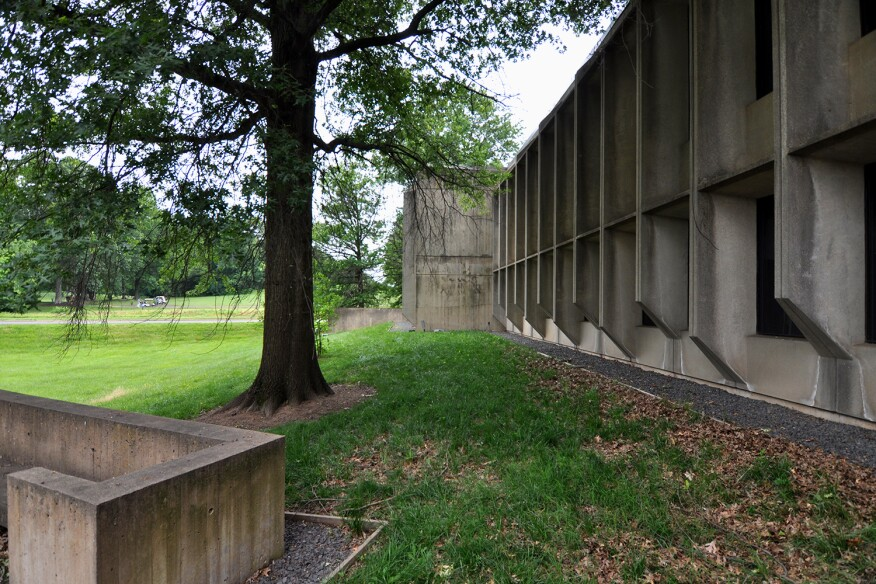 East side of Marcel Breuer's American Press Institute, Reston, Va., looking toward golf course.