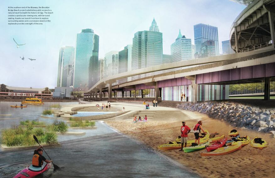 Proposed beach on the East River.