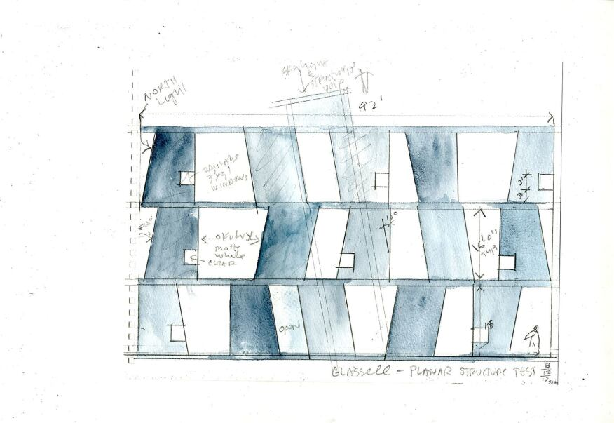 Steven Holl Architects, Glassell School of Art, watercolor on paper, 2014.
