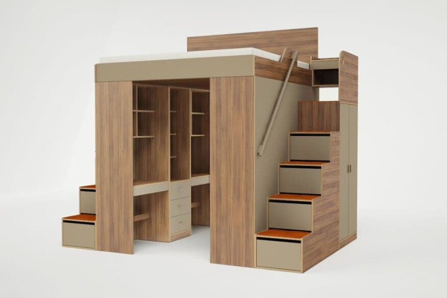 The flanking stairs increase the Urbano's storage capacity with deep drawers.