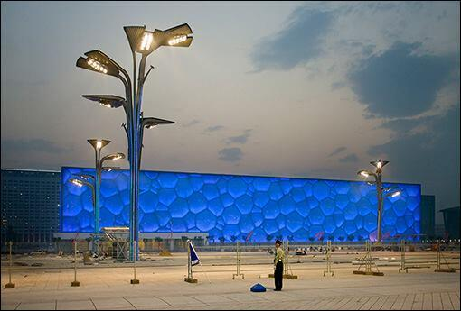 Beijing National Aquatics Centre for the 2008 Olympics, aka the Water Cube, by PTW Architects, CSCEC International Design, and Arup Engineering.