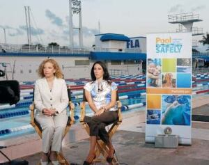 U.S. Rep. Debbie Wasserman Schultz (left) was joined by swimming champion Janet Evans for the unveiling of the nationwide education campaign linked to the VGB Act.