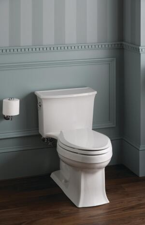 Kohler. The company's first one-piece, single-flush high-efficiency toilet, the Archer uses 1.28 gpf and includes Class 5 flushing technology, which features a 3 1/4-inch flush valve and an efficient, direct-fed jet to maximize water flow. The transitional design boasts beveled edges and a curved base. 800.456.4537. www.kohler.com.