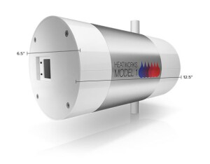 The Heatworks Model 1 is compact enough to be installed at the point of use.