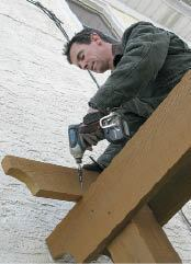 Figure 6. Rafters were toe-screwed to the girder with deck screws.