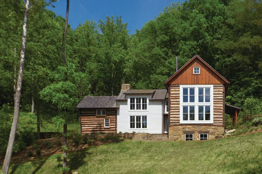 Historic log cabin renovation in the Virginia countryside.