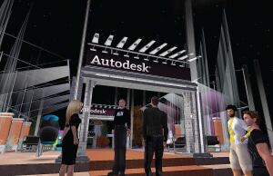 The entrance to Autodesk island beckons on Second Life. You-or, rather, your avatar-can collect information on Autodesk products (via billboards such as the one above center) and use Autodesk's meeting spaces to engage in realtime discussions on design trends. Autodesk's Second Life island has been open since May, and some architects have begun to use the space to meet with clients.