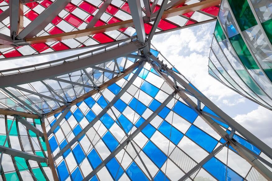 """Daniel Buren, """"L'Observatoire de la Lumière,"""" work in situ, Fondation Louis Vuitton, Paris, 2016. Detail."""