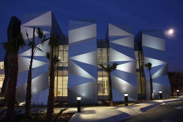 Four tessellated volumes represent the core values of the Foundation.