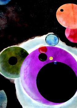 Modeled after a Kandinsky painting, Hilary McBroom custom-made circular stencils, adding color with solvent-based dyes built up in layers, chemical stain, and water-based stains sprayed with an HVLP sprayer.