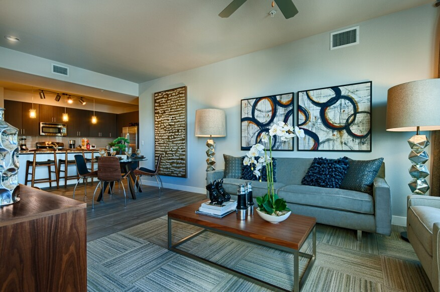Lennar Multifamily's Skywater at Town Lake in Tempe, Ariz., open kitchen-living room space.