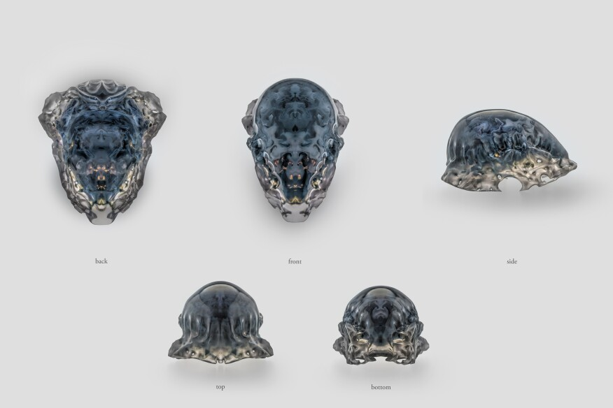 Compilation of views, Mask 2, Vespers collection, Present series. Designed by Neri Oxman and members of the Mediated Matter Group and 3D printed by Stratasys.