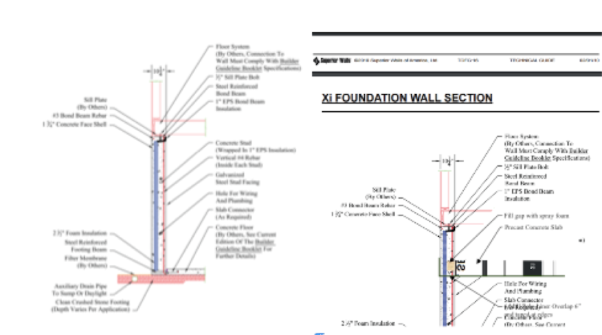 Typical vs. hypothetical precast foundation wall section using panels for the slab.