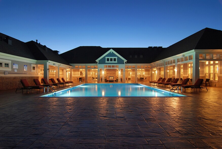 pool at night, clubhouse