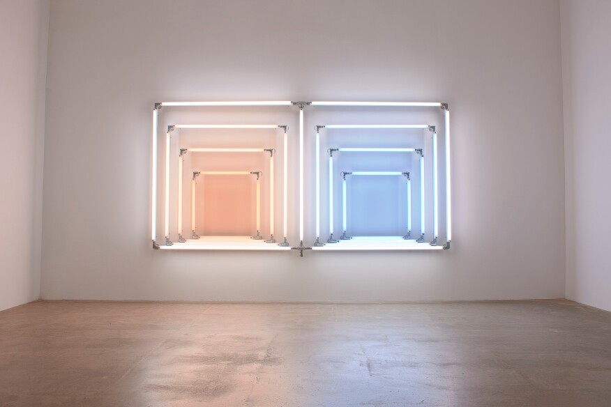 light/Double Albers: Warm White Deluxe/Warm White/Natural White/Cool White/Sunlight/Daylight/Daylight Deluxe, 2016Fluorescent lights, aluminum pipe, speed-rail, conduit fittings