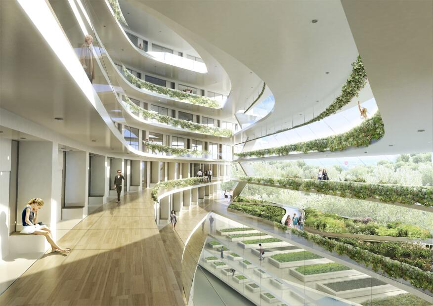 Proposed interior of Green School Stockholm by 3XN