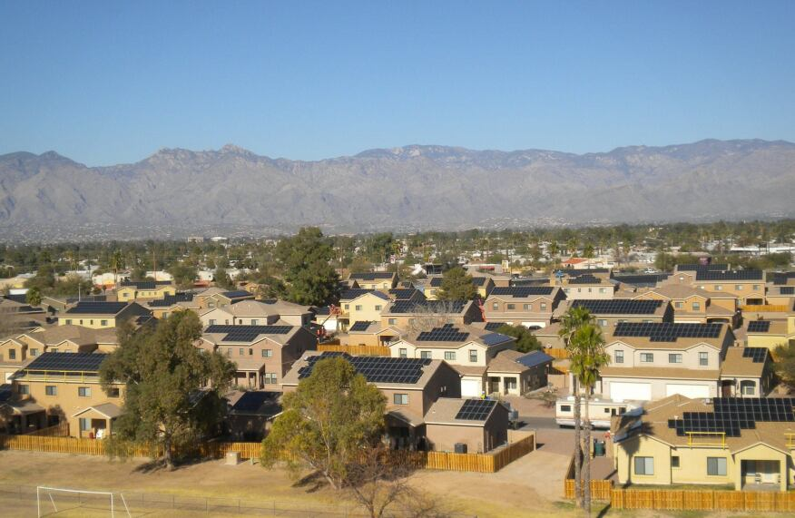 CONSUMPTION CONTROL Soaring Heights, a Lend Lease community at Davis-Monthan Air Force Base in Tuscon; Ariz., features homes powered by solar panels. Lend Lease is upgrading the energy efficiency of 40,000 homes on military bases around the country as part of its participation in the Better Buildings Challenge.