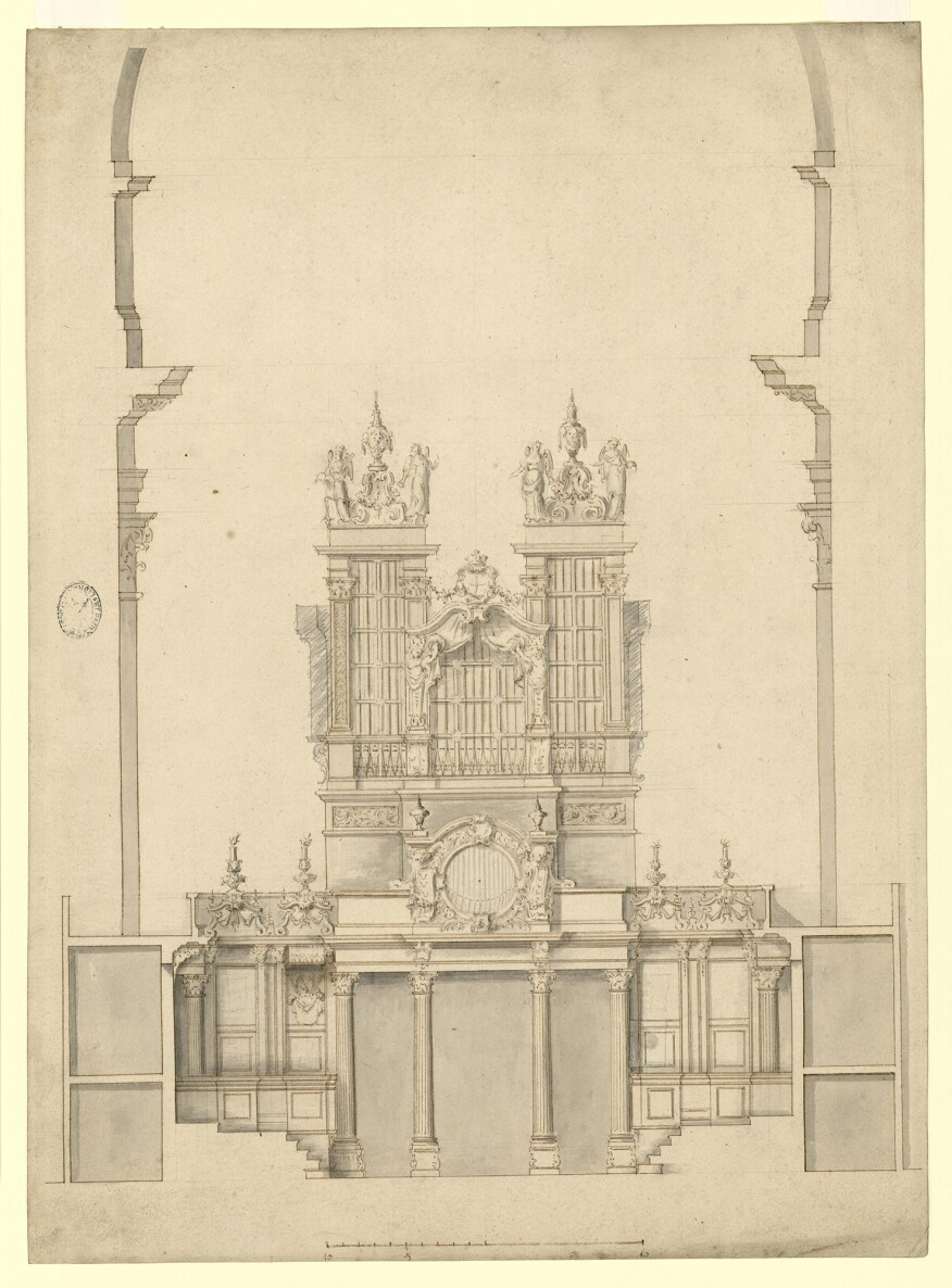 Elevation and section of choir stalls, drawn by Hawksmoor c.1693–94