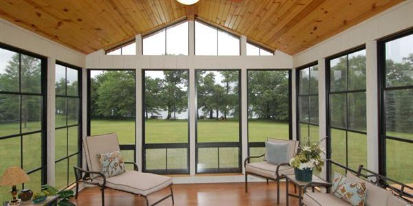 At approximately $10.25 per square foot, Eze-Breeze is an affordable option for enclosing porches and patios. The aluminum framed, vinyl-glazed panels are strong, shatter-proof, and flexible while sporting the look of traditional windows. www.ezebreeze.com