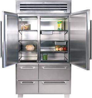spacious sub  With the PRO 48, Madison, Wis.–based Sub-Zero combines performance and design to offer a commercial-grade appliance for the home. The all-stainless steel product boasts 18.4 cubic feet of refrigerator space and 11.4 of freezer storage. Features include a dual refrigeration system, a Sabbath mode for religious observances, and an alarm that sounds when a door or drawer is left open. Stainless doors come standard; a glass door on the refrigerator side is optional. Sub-Zero, 800.222.7820; www.subzero.com