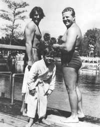 Behind the scenes with Newt Perry (above, right) with Johnny Weissmuller and a young Johnny Sheffield during the filming of ?Tarzan Finds a Son? in 1939 ? and (below) setting up for an underwater picnic for a Grantland Rice short film in the ?40s.