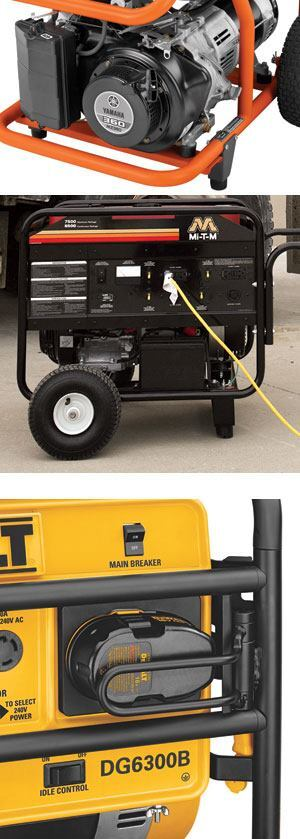 Small generators (top) have recoil start – you pull a cord to start them. Some larger models have battery-powered electric starters, which are backed up by recoil in case the battery goes dead. Most electric-start generators rely on sealed lead acid batteries (above), but DeWalt uses its own 18-volt XRP cordless tool batteries (left). When the battery dies you can pop it out and snap in a spare.