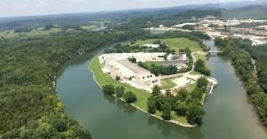 The Leisure Pools facility is set on a large island in Tennessee, with the French Broad River flowing around it.