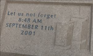 Cast stone simulates natural cut stone, as evidenced in this commemorative plaque.