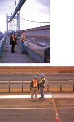 Left: Norman Diegnan, a representative of Tempil, and Jon Hart, project engineer with American Bridge Koch Skanska, worked together to successfully implement the use of Bloxide on the Queens section of the Triborough Bridge. This contract involved a $150 million replacement of the bridge deck and barrier system. Below: Employees of the Metropolitan Transportation Authority's bridges and tunnels division observe a new application of Bloxide aluminized rust preventative primer on a section of steel replacement deck panels on New York City's Triborough Bridge project. Photos: Tempil