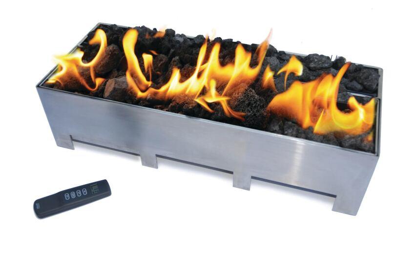Spark Modern Fires' Linear Burner System for Outdoors