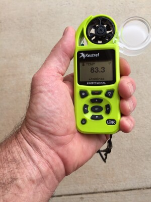 The Kestrel Environmental Meter provides great information on temperature, humidity, and wind speed and even directly calculates the evaporation rate.