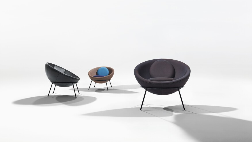 Some of the special edition Bowl Chairs that Arper is releasing for the centennial of Bo Bardi's birth.