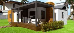A mockup of The Spirit by Irontown Homes, a one-story prefabricated home with an estimated construction price of $271,000.