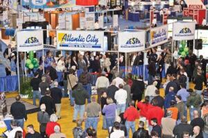 Building momentum: An  impressive turnout marked the first day of the Atlantic City Pool  and Spa Show, but the event was slowed the next day by a storm  that made national headlines.