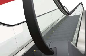 Series Z escalator  Mitsubishi  mitsubishi.com  Three models with glass panel, glass panel with under-handrail lighting, or stainless panel    Screw-free inner deck    Shorter truss means less installation space and more freedom in layout    Rounded handrail inlet cap    Steps feature anti-slip grooves    Optional skirt guard and comb lighting, outer deck sensor, and floor plate numbers    Available October 2008