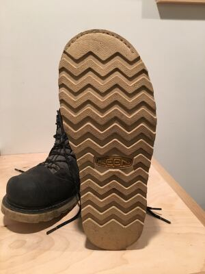 The rubber outsole is wide which provides stability under foot. They are also oil and slip resistant as well as non-marking. Welted construction means that these outsoles can be replaced, but that likely won't need to happen too quickly unless you work on pavement all day; these outsoles seem to be quite durable.