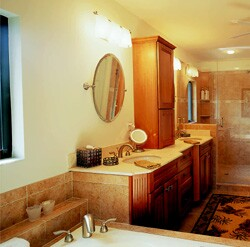 The master bedroom renovation includes a large walk-in closet as well as a water closet and new master bath with a Jacuzzi tub and dual shower heads and controls.