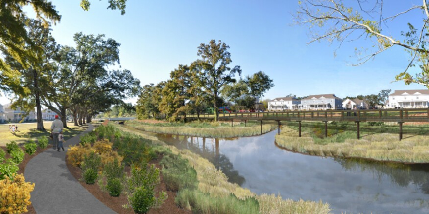 A rendering of the restoration of the Bayou Auguste Neighborhood Wetland Park, completed in February 2012.