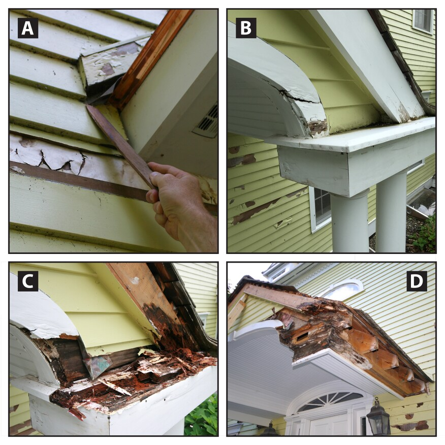 Portico problems. At the entry portico, kickout flashing had not been installed. Here, trim was placed over the step flashing, but no attempt was made to direct water running down the step flashing outward at the bottom (A)—water was allowed to flow behind the siding. This problematic detail also occurred in a couple of other locations, higher up on the roof. At the rake returns, the aluminum cap flashing sloped the wrong way, which caused water to pond against the trim and siding (B). The returns were probably built with too little slope to begin with, and over the years, settling caused them to reverse slope. Eventually, the silicone caulk sealing the aluminum cap flashing failed. When we started our repairs, we found the underlying rake-return boxes (C), adjacent trim, and framing had turned into compost (D).