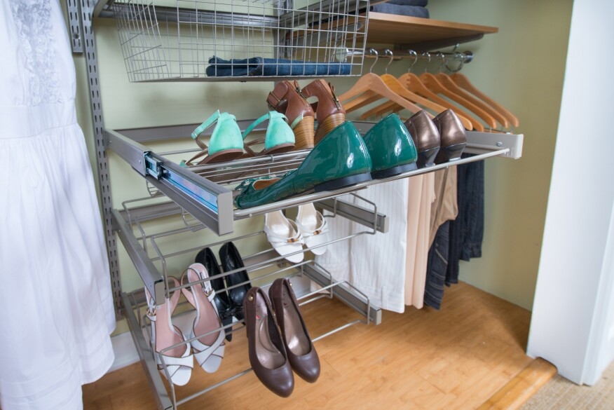 Organized Living, Reveal, closet organization, shoe shelves