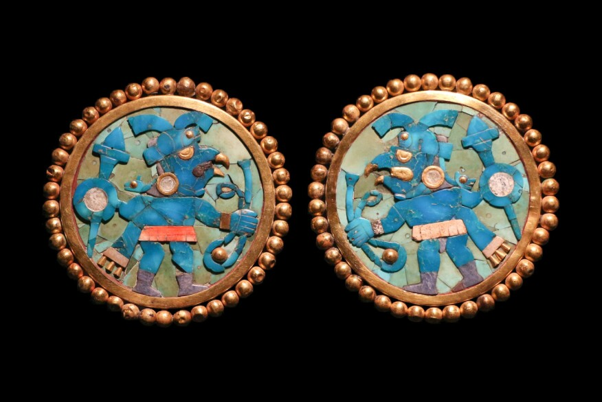 Moche Earrings from the Larco Museum in Lima, Peru, which were seized from art collectors and traffickers in Argentina and were repatriated in 2016