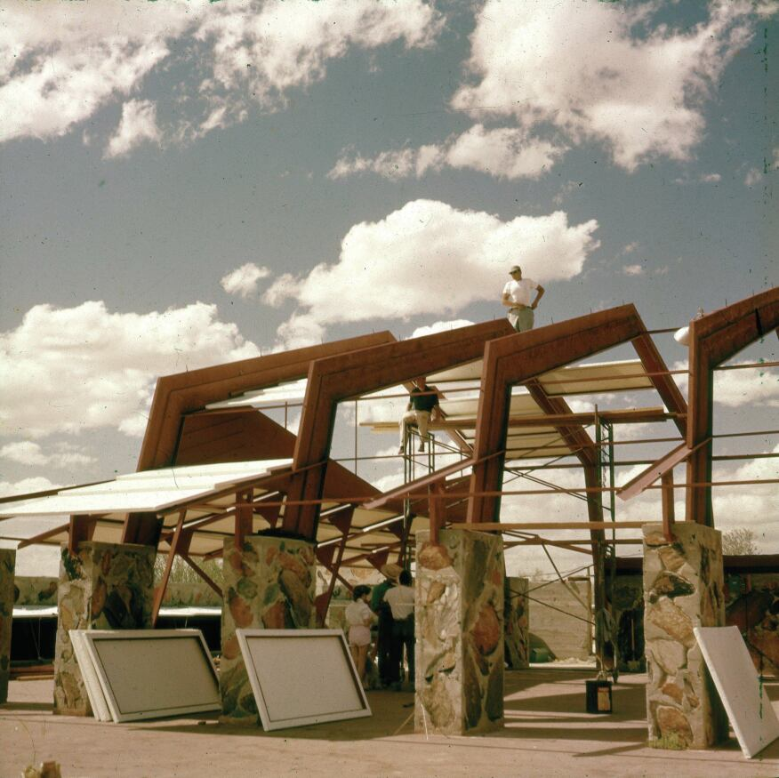 The dance pavilion was the last structure at Taliesin West designed by Frank Lloyd Wright. It was constructed circa 1956 to 1957. Now known as the Music Pavilion, the building remains in active use.