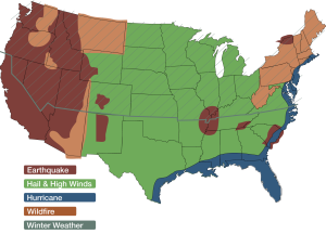 IBHS map showing risk zones in America