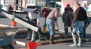 Concrete slabs are poured for the Artistry in Decorative Concrete area at the World of Concrete. This year's show runs from Feb. 1–5, 2010 in Las Vegas.
