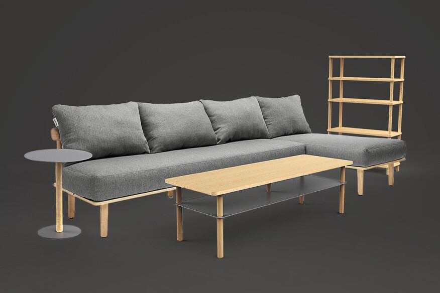 The five-piece collection is available inash wood and greyfabric.